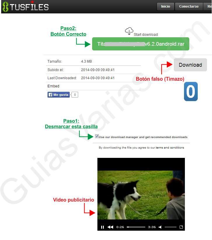 Como descargar de tusfiles correctamente pantallazo 1