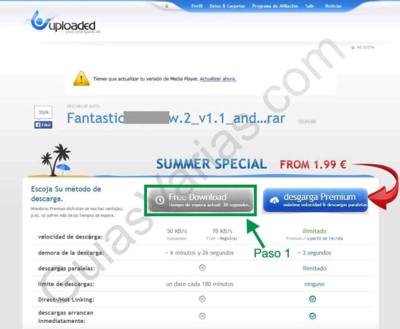 Uploaded downloader virus. Como descargar de uploaded correctamente paso01
