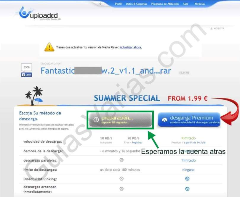 Uploaded downloader virus. Como descargar de uploaded correctamente paso02