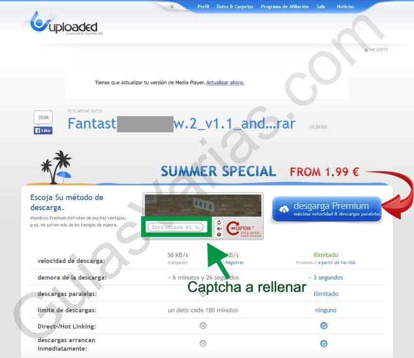 Uploaded downloader virus. Como descargar de uploaded correctamente paso03