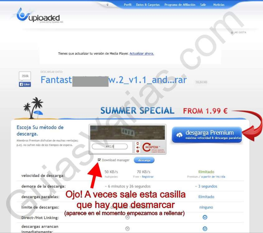 Uploaded downloader virus. Como descargar de uploaded correctamente paso03b