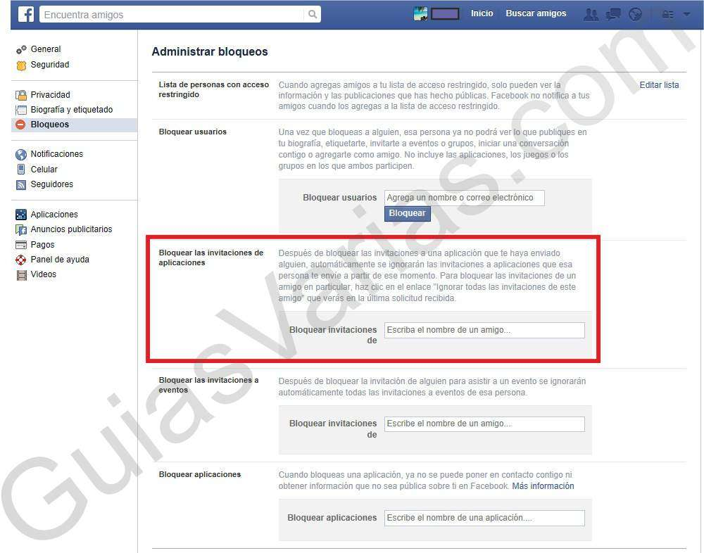 Como bloquear invitaciones de juegos en Facebook pantallazo 2