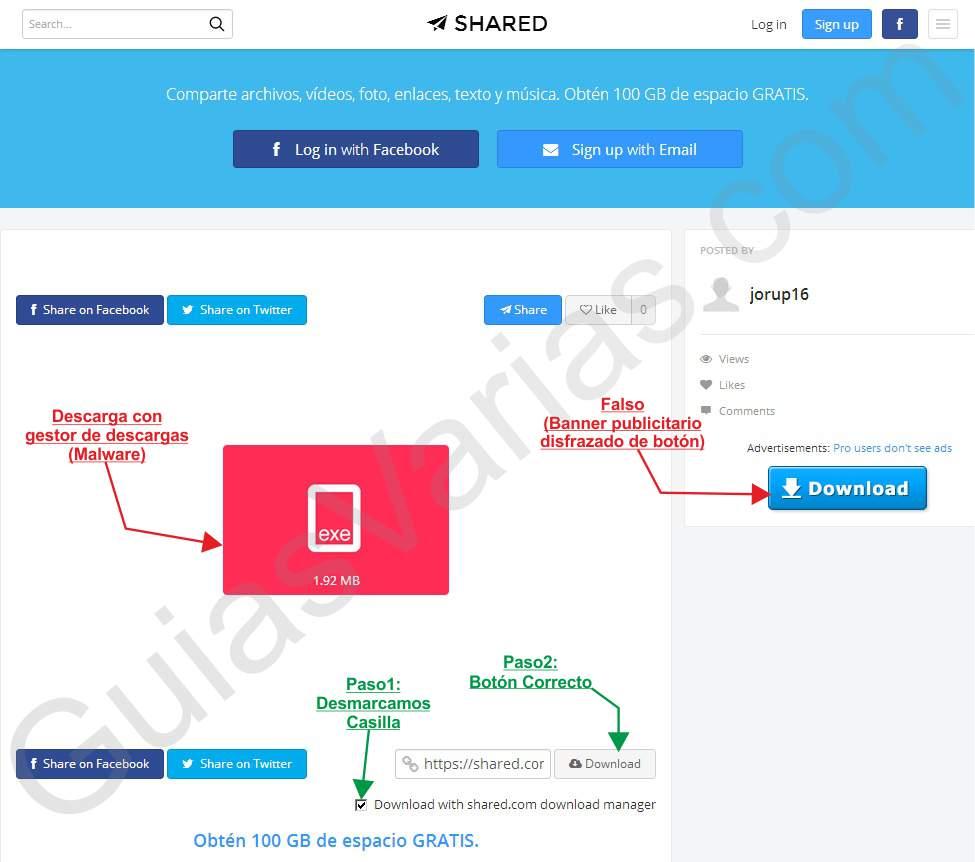 Como descargar de shared correctamente pantallazo