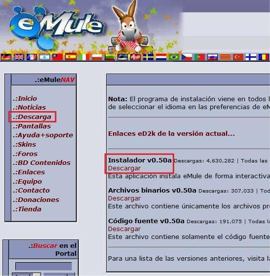 Descargando instalador (pantallazo) - Configurar emule