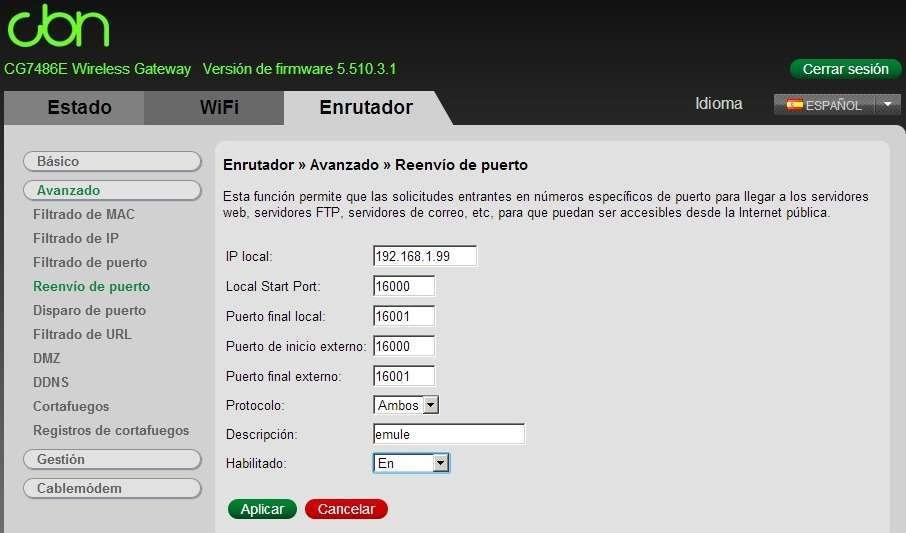 Ejemplo Router CBN. Abrir puertos emule utorrent router
