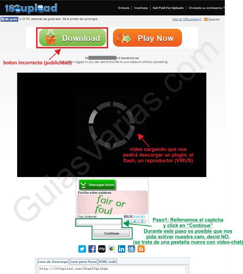 180Upload como descargar sin infectarse cuidado pantallazo 1