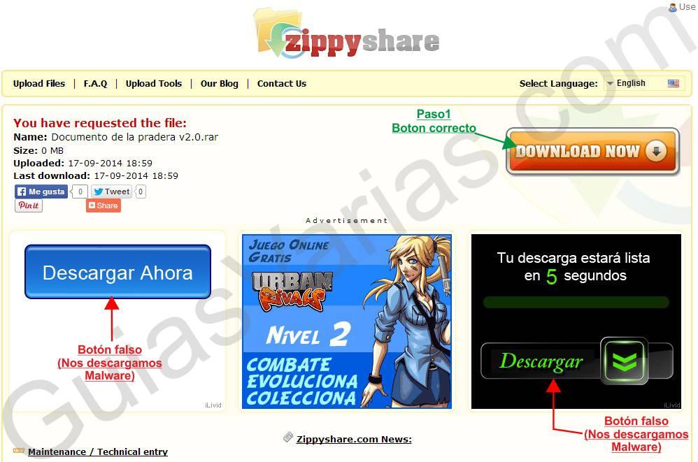 Como descargar de ZippyShare directo al grano pantallazo