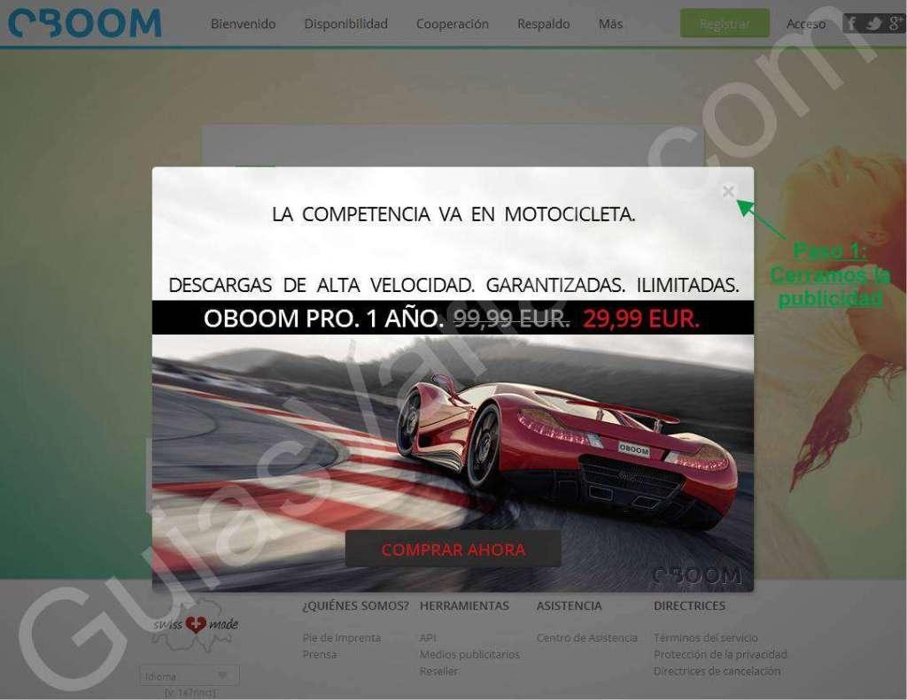 Como descargar de OBOOM. Web limpia. Pantallazo 01