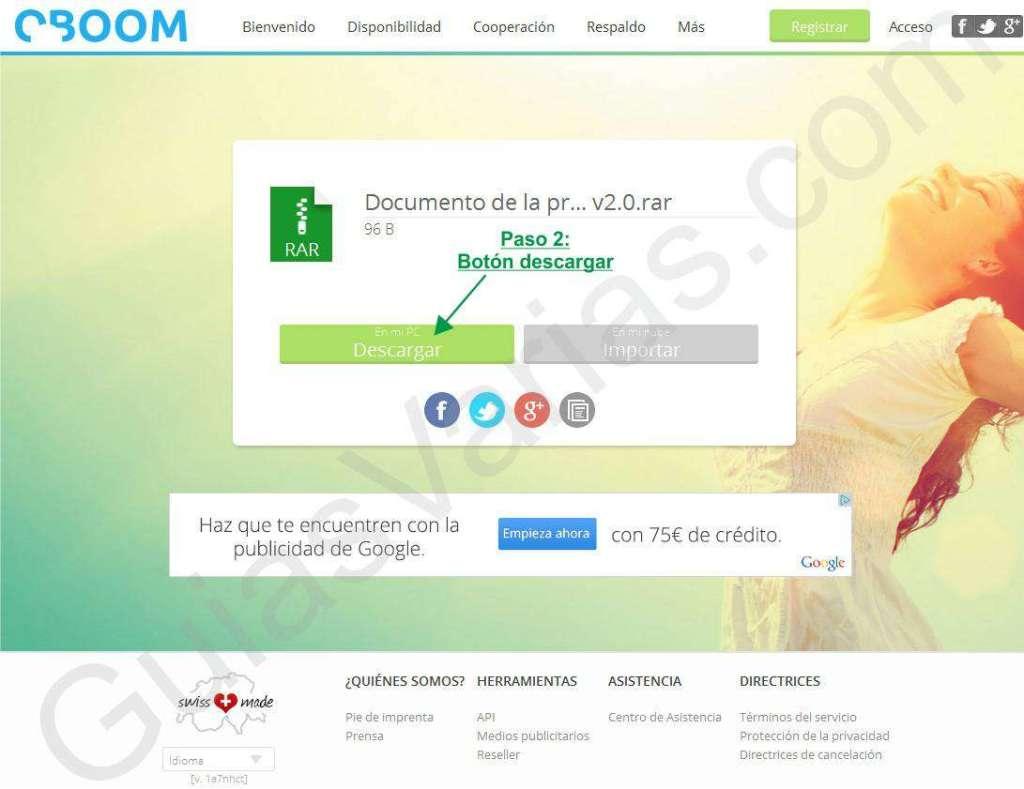 Como descargar de OBOOM. Web limpia. Pantallazo 02