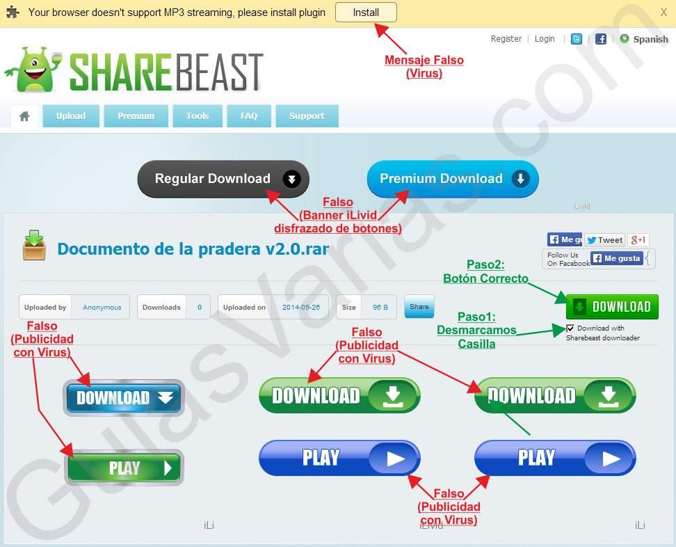 Como descargar de ShareBeast correctamente pantallazo