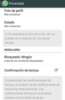 Como quitar el doble check azul del Whatsapp actualizacion opciones ajustes