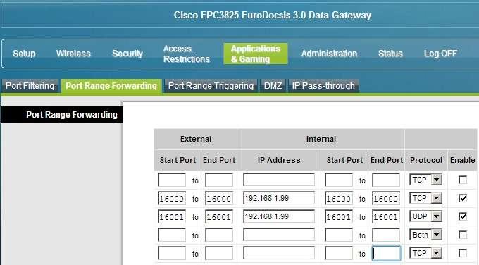 Ejemplo Router Ono Cisco. Abrir puertos emule utorrent router