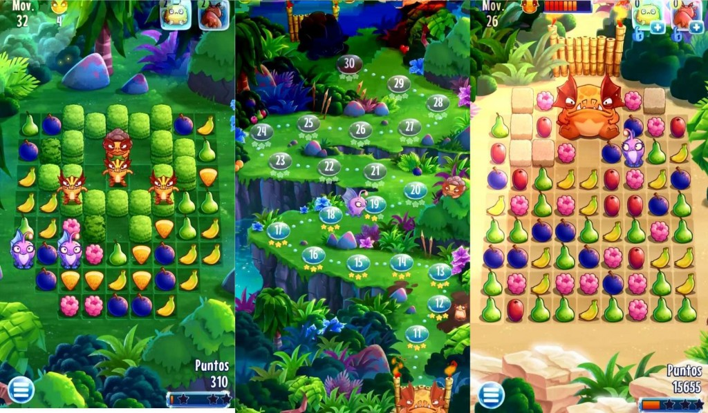 Nibblers juego puzzle con frutas de Rovio estilo Candy Crush gameplay, mapa y boss jefe